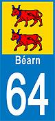 sticker bearn 64 plaque auto
